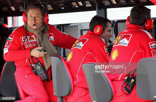 Ferrari general director Jean Todt watches out over the pitlane during the practise session for the European F1 Grand Prix on May 28 at the...