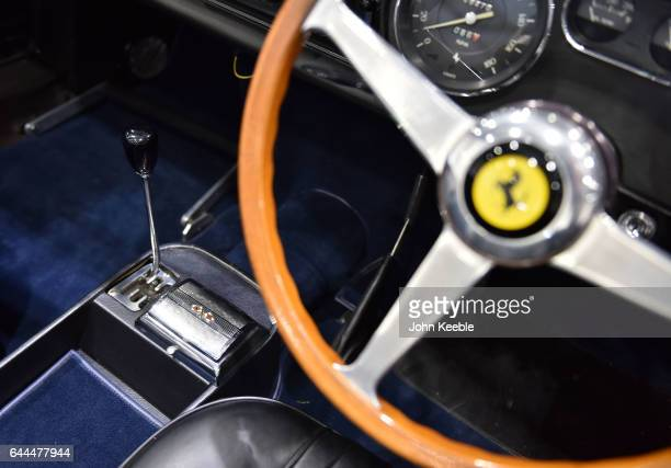 Ferrari interior on display at London Classic Car Show at ExCel on February 23, 2017 in London, England. The London Classic Car Show brings together...