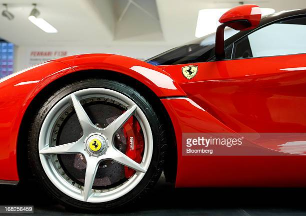 A Ferrari LaFerrari automobile produced by Ferrari SpA sits on display at the company's museum in Maranello Italy on Tuesday May 7 2013 A 43 percent...