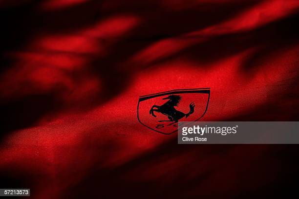 Ferrari logo is pictured in the paddock prior to the Australian Formula One Grand Prix at the Albert Park Circuit on March 30 2006 in Melbourne...