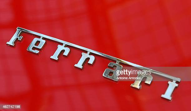 Ferrari logo is seen during a vintage cars and motorbikes exhibition by Bonhams auction house at Le Grand Palais on February 4 2015 in Paris France