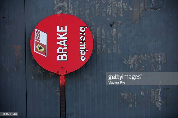 Ferrari lollipop is seen standing next to the garage during practice for the Italian Formula One Grand Prix at the Autodromo Nazionale di Monza on...