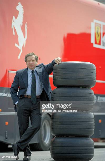 Ferrari Managing Director Jean Todt gives a guided tour behind the scenes at the Ferrari production factory Todt in front of the chassis of a Formula...