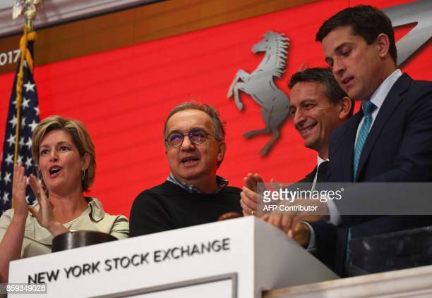 Ferrari NV led by Chairman Sergio Marchionne and members of the companys leadership team ring the opening bell at the New York Stock Exchange on...