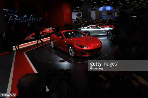 A Ferrari NVPortofino entrylevel supercar stands after unveiling during the first media preview day of the IAA Frankfurt Motor Show in Frankfurt...