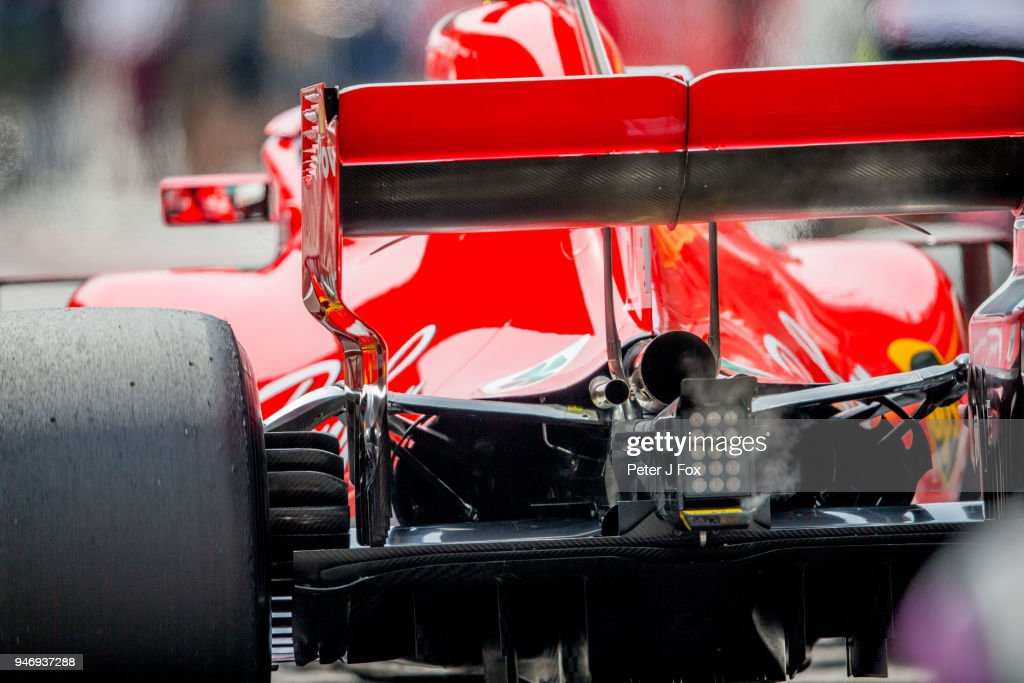 Ferrari Oil Burn before the start of the Formula One Grand Prix of China at Shanghai International Circuit on April 15, 2018 in Shanghai, China.
