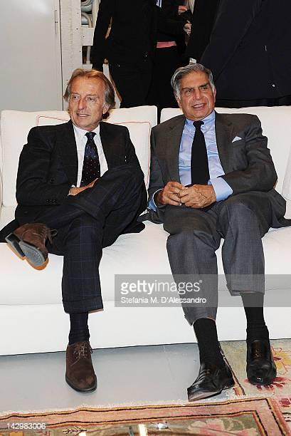 Ferrari President Luca Cordero Di Montezemolo and Tata Group President Ratan Tata attend Poltrona Frau Group Party held at Fondazione Pomodoro as...