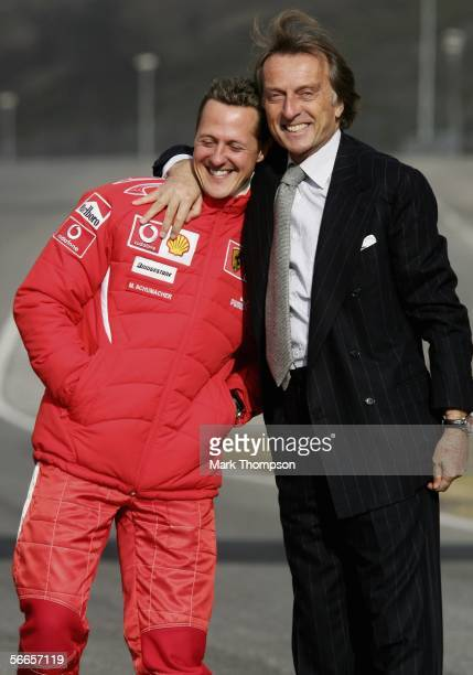 Ferrari president Luca di Montezemolo and Michael Schumacher of Germany pose during the launch of the new Ferrari F1 car for the Season 2006 on...