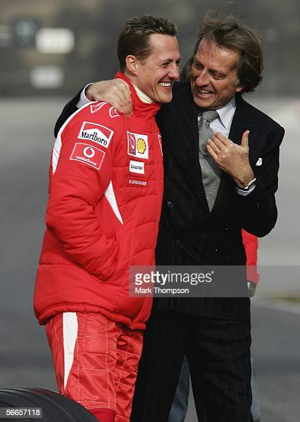Ferrari president Luca di Montezemolo and Michael Schumacher of Germany talk during the launch of the new Ferrari F1 car for the Season 2006 on...