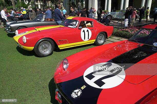 Ferrari SpA 250 GT Competizione race vehicles sit on display during the 26th Annual Cavallino Classic Event at the Breakers Hotel in Palm Beach,...
