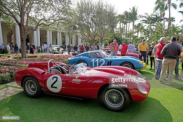 Ferrari SpA 412 MI race vehicle, front, sits on display next to a 1963 Ferrari 330 LMB race vehicle during the 26th Annual Cavallino Classic Event at...