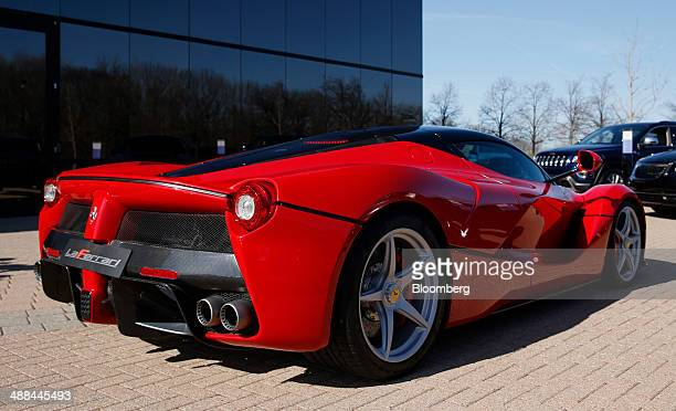 A Ferrari SpA LaFerrari vehicle stands in front of the Chrysler Group LLC headquarters in Auburn Hills Michigan US on Tuesday May 6 2014 Fiat SpA...