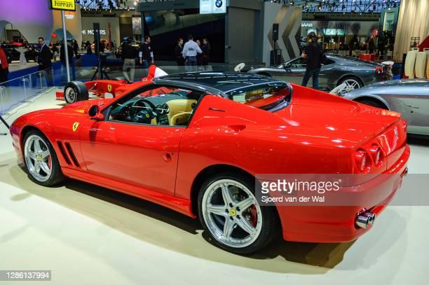 Ferrari Superamerica on display at Amsterdam motor show AutoRAI on February 9, 2005 in Amsterdam, The Netherlands. The Ferrari Superamerica is a...