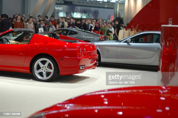 Ferrari Superamerica on display at Amsterdam motor show AutoRAI on February 19, 2005 in Amsterdam, The Netherlands. The Ferrari Superamerica is a...