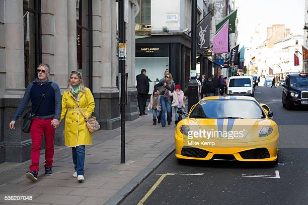 Ferrari supercar parked on Old Bond Street in Mayfair. In a selected few boroughs of West London, wealth has changed over the last couple of decades....