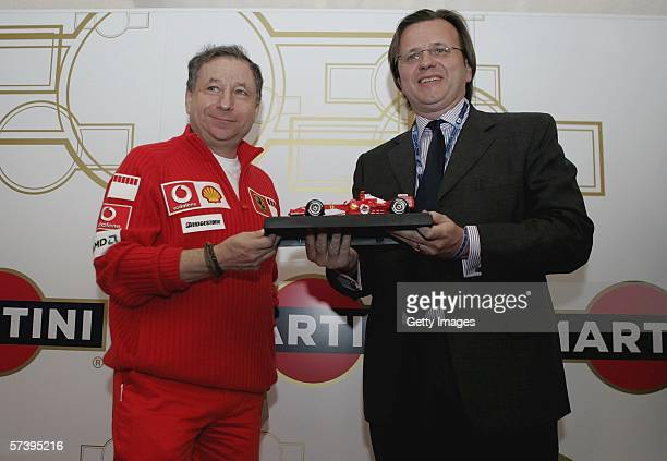 Ferrari team principal Jean Todt alongside Robert FurnissRoe during a Martini Racing Media Launch to celebrate Martini being back in motorsport at...
