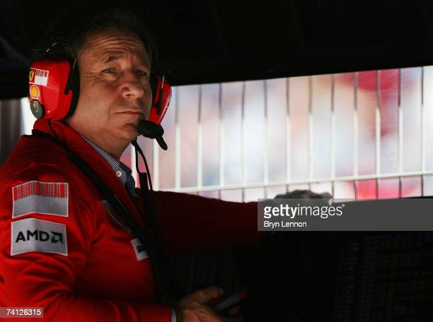 Ferrari Team Principal Jean Todt watches from the pitwall during practice for the Spanish Formula One Grand Prix at the Circuit de Catalunya on May...