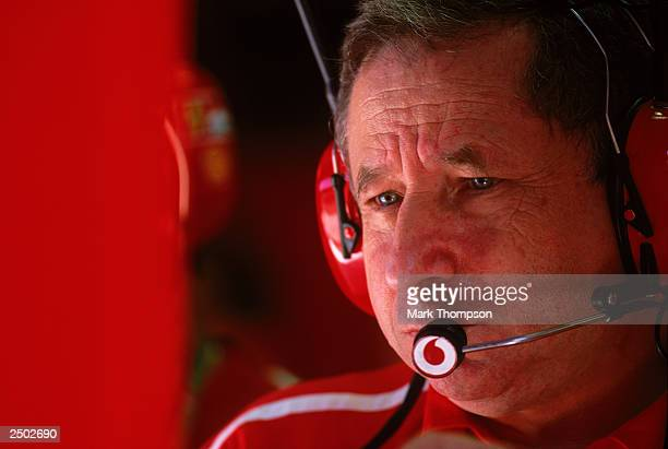 Ferrari team principal Jean Todt watches the monitor during the FIA Formula One Italian Grand Prix on September 14 2003 at the Autodromo Nazionale...