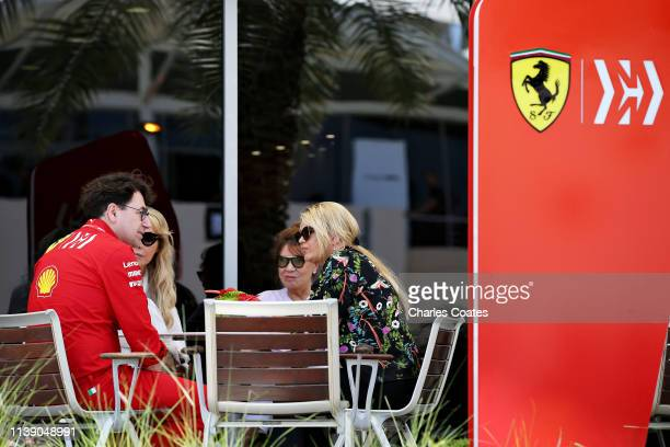 Ferrari Team Principal Mattia Binotto talks with Corinna Schumacher in the Paddock before practice for the F1 Grand Prix of Bahrain at Bahrain...