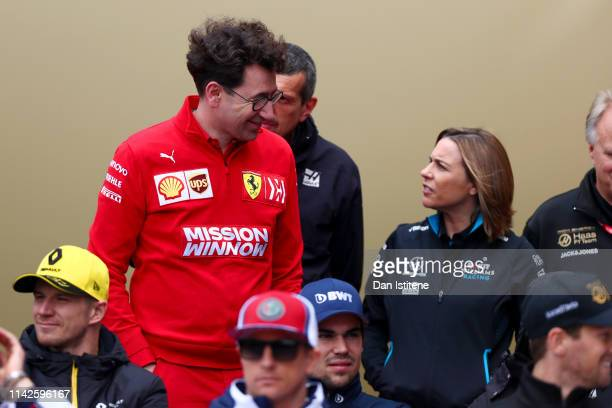 Ferrari Team Principal Mattia Binotto talks with Williams Deputy Team Principal Claire Williams before the F1 Grand Prix of China at Shanghai...