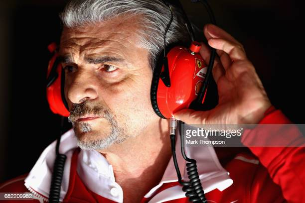 Ferrari Team Principal Maurizio Arrivabene in the garage during practice for the Spanish Formula One Grand Prix at Circuit de Catalunya on May 12...