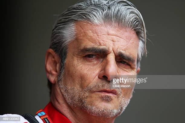 Ferrari Team Principal Maurizio Arrivabene looks on during practice for the Formula One Grand Prix of China at Shanghai International Circuit on...