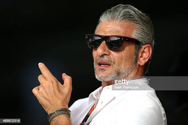 Ferrari Team Principal Maurizio Arrivabene looks on during previews to the Bahrain Formula One Grand Prix at Bahrain International Circuit on April...