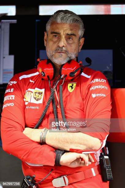 Ferrari Team Principal Maurizio Arrivabene looks on from the pit wall qualifying for the Bahrain Formula One Grand Prix at Bahrain International...