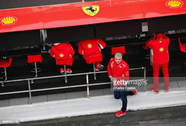 Ferrari Team Principal Maurizio Arrivabene looks on in the Pitlane during day three of F1 Winter Testing at Circuit de Catalunya on March 8 2018 in...