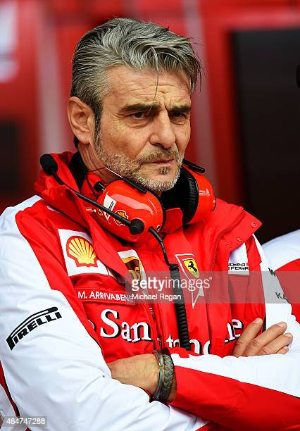 Ferrari Team Principal Maurizio Arrivabene looks on outside the team garage during day three of the final Formula One Winter Testing at Circuit de...