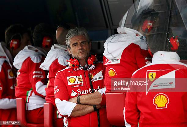 Ferrari Team Principal Maurizio Arrivabene on the pit wall during practice ahead of the Australian Formula One Grand Prix at Albert Park on March 18...