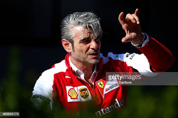 Ferrari Team Principal Maurizio Arrivabene speaks with members of the media in the paddock during previews to the Australian Formula One Grand Prix...