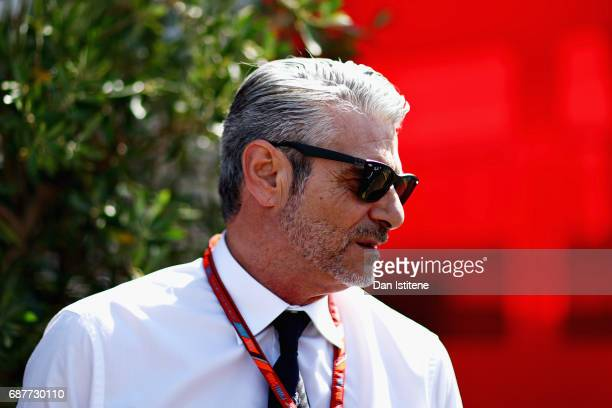 Ferrari Team Principal Maurizio Arrivabene talks in the Paddock during previews for the Monaco Formula One Grand Prix at Circuit de Monaco on May 24...
