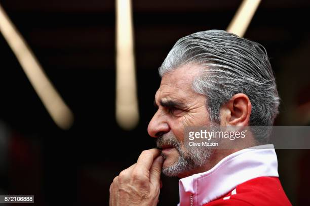 Ferrari Team Principal Maurizio Arrivabene talks in the Paddock during previews for the Formula One Grand Prix of Brazil at Autodromo Jose Carlos...