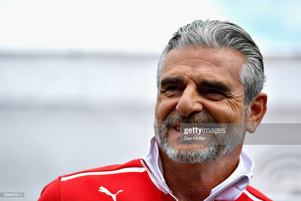 Ferrari Team Principal Maurizio Arrivabene talks in the Paddock during previews ahead of the Formula One Grand Prix of Belgium at Circuit de Spa-Francorchamps on August 24, 2017 in Spa, Belgium.