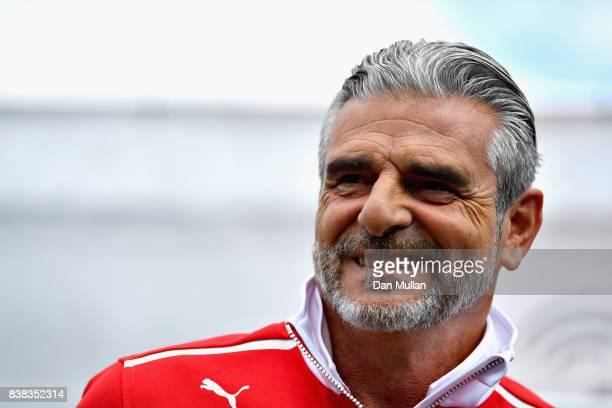 Ferrari Team Principal Maurizio Arrivabene talks in the Paddock during previews ahead of the Formula One Grand Prix of Belgium at Circuit de...