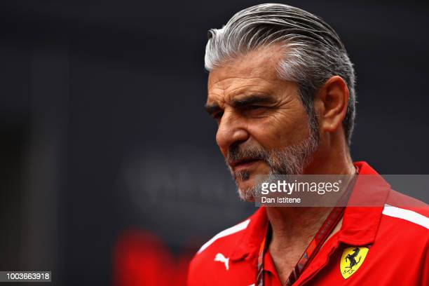 Ferrari Team Principal Maurizio Arrivabene walks in the Paddock before the Formula One Grand Prix of Germany at Hockenheimring on July 22 2018 in...