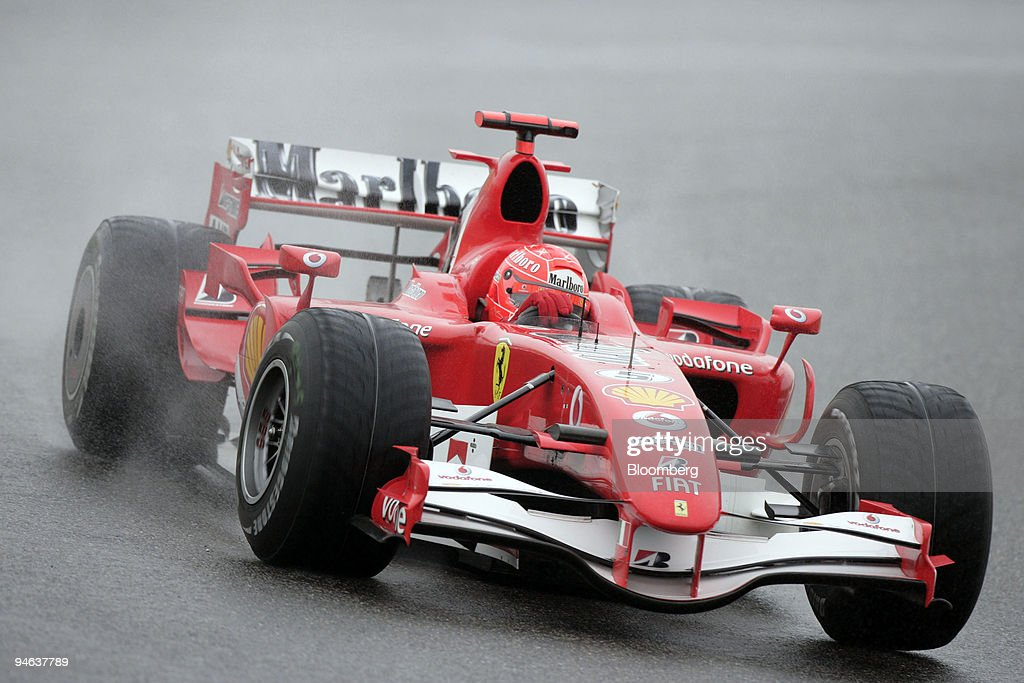Ferrari team's Michael Schumacher of Germany races at the Fo : News Photo
