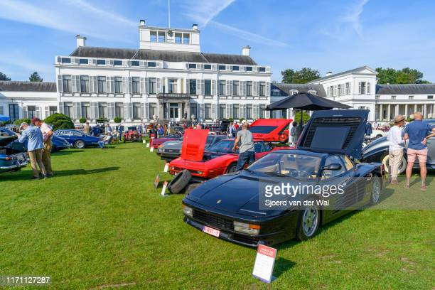 Ferrari Testarossa and BMW M1 classic sports cars on display at the 2019 Concours d'Elegance at palace Soestdijk on August 25 2019 in Baarn...