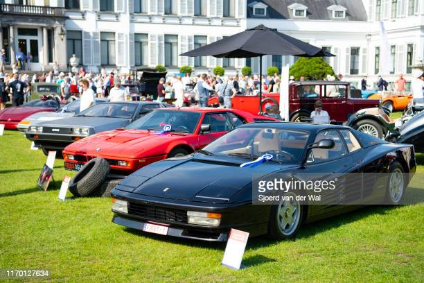 Ferrari Testarossa and BMW M1 youngtimer classic cars on display at the 2019 Concours d'Elegance at palace Soestdijk on August 25 2019 in Baarn...