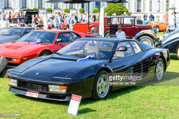Ferrari Testarossa classic iconic Italian sports car on display at the 2019 Concours d'Elegance at palace Soestdijk on August 25 2019 in Baarn...