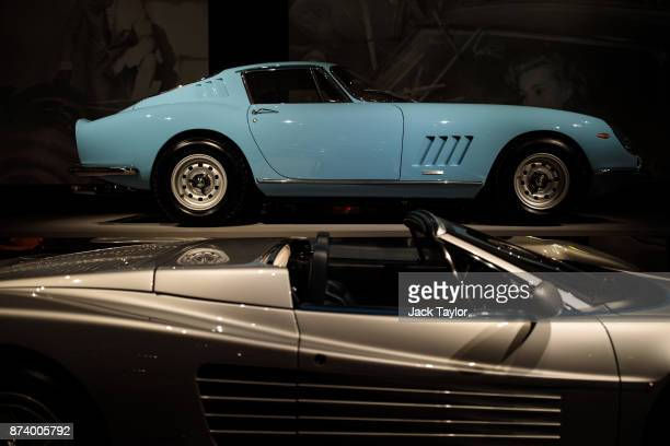 Ferrari Testarossa Spyder 1986 and a Ferrari 275 GTB/4 1967 on display at the 'Ferrari Under the Skin' exhibition at the Design Museum on November 14...