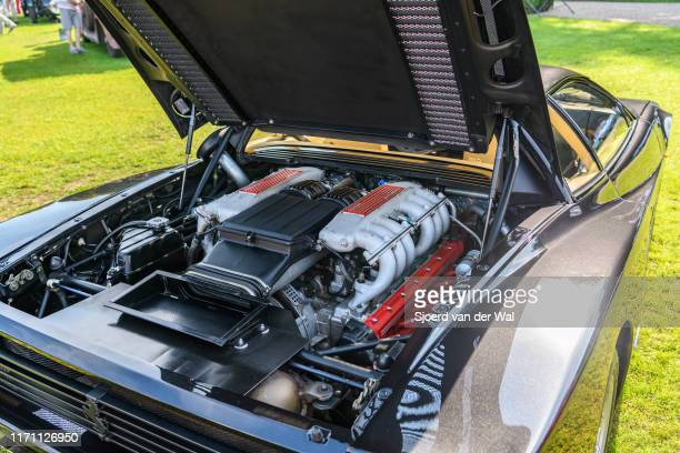 Ferrari Testarossa V12 engine Series 1 Italian iconic classic sports car interior of the 1980s on display at the 2019 Concours d'Elegance at palace...