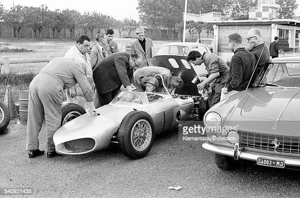 Ferrari Tests Modena Aerautodromo April 1961 The first track test of the new Ferrari 156/F1 car with 120° V6 motor which offered a lower center of...