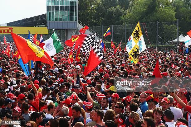 Ferrari tifosi are seen at the Italian Formula One Grand Prix at Autodromo di Monza on September 8 2013 in Monza Italy