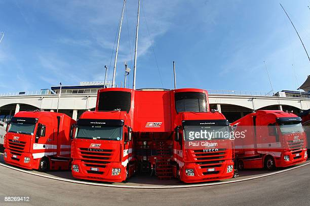 Ferrari transporter lorries are seen lined up in the paddock following qualifying for the Turkish Formula One Grand Prix at Istanbul Park on June 6...
