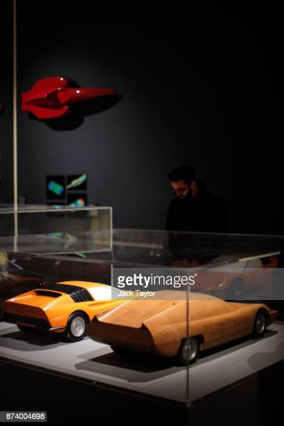 Ferrari wind tunnel models on display at the 'Ferrari Under the Skin' exhibition at the Design Museum on November 14 2017 in London England £140M...