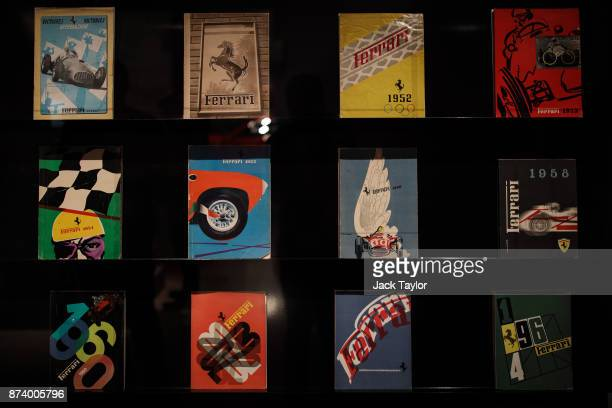 Ferrari yearbooks on display at the 'Ferrari Under the Skin' exhibition at the Design Museum on November 14 2017 in London England £140M worth of...