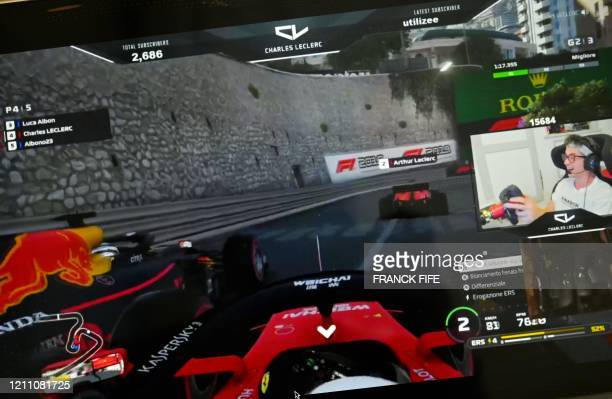 Ferrari's driver from Monaco Charles Leclerc, winner of two virtual Grand Prix takes part in a virtual Formula 1 race during the strict lockdown...