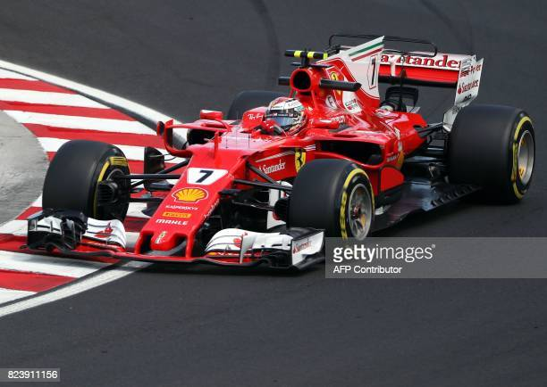 Ferrari's Finish driver Kimi Raikkonen takes part in a practice session at the Hungaroring racing circuit in Budapest on July 28 2017 prior to the...